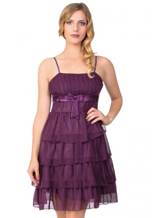 Lila Tanzkleid mit Faltenzierde und Stufenrock - bei VIP Dress günstig kaufen