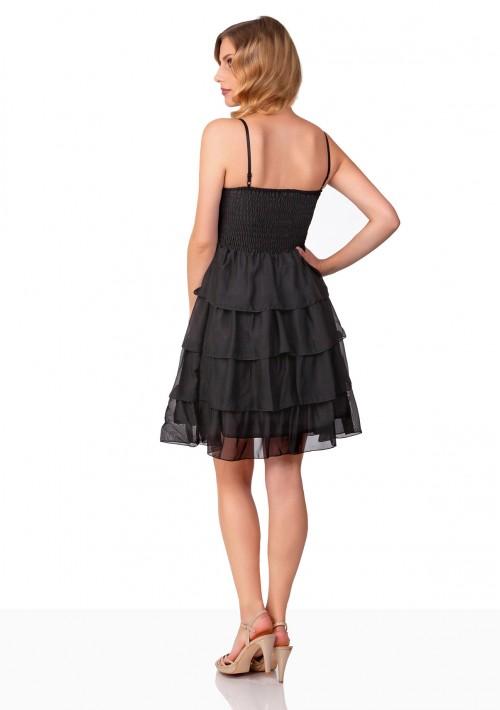Chiffon-Abiballkleid mit Stufenrock in Schwarz - bei VIP Dress online bestellen