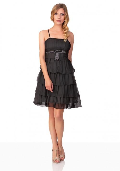 Chiffon-Abiballkleid mit Stufenrock in Schwarz - hier günstig online bestellen