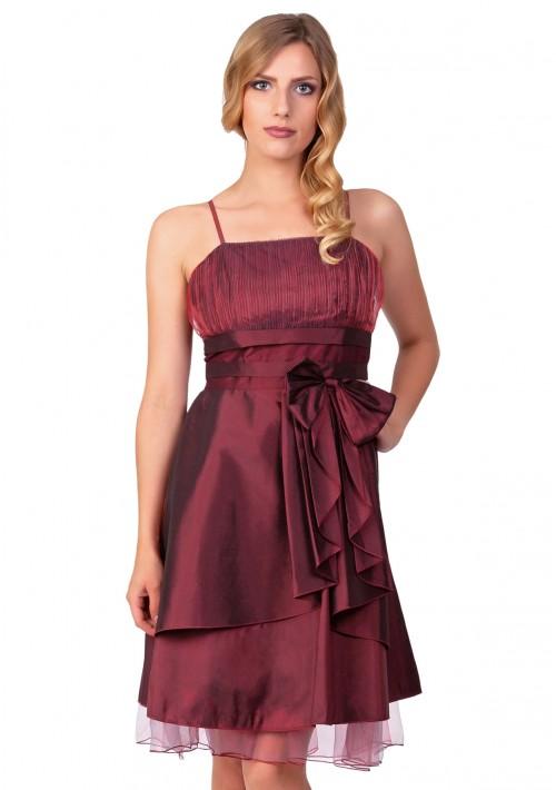Kurzes Abiballkleid in Rot mit Tüllabsatz und Schleife - günstig bei VIP Dress