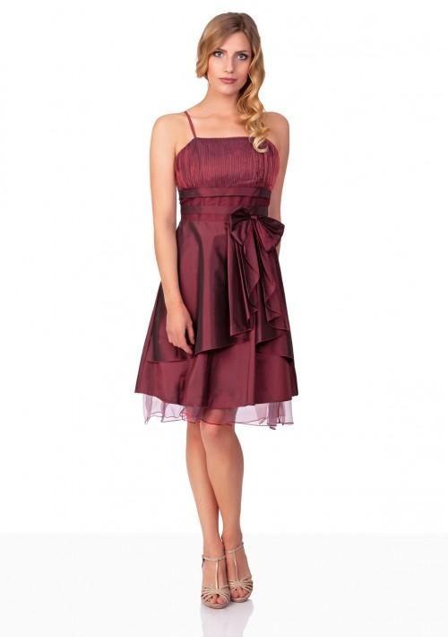 Kurzes Abiballkleid in Rot mit Tüllabsatz und Schleife - bei vipdress.de günstig shoppen