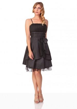 Schwarzes Cocktailkleid mit Lagenoptik und Tüllbesatz - günstig bestellen bei VIP Dress