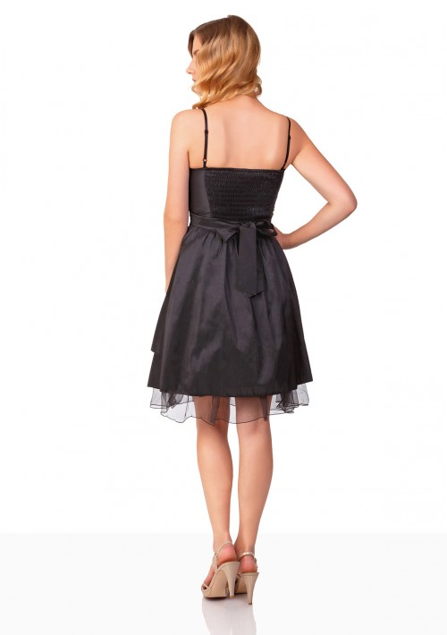 Schwarzes Cocktailkleid mit Lagenoptik und Tüllbesatz - bei VIP Dress online bestellen