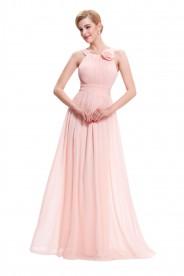 Langes Abendkleid in rosa Chiffon