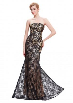 Schulterfreies, langes Etui-Kleid in Schwarz aus Spitze -