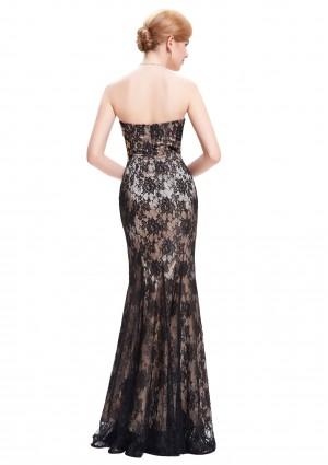 Schulterfreies, langes Etui-Kleid in Schwarz aus Spitze - bei vipdress.de günstig shoppen