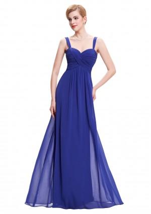 Langes Abendkleid in Blau ohne Ärmel -