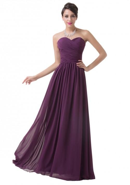 Schulterfreies, langes Abendkleid in Dunkelflieder - günstig bestellen bei VIP Dress