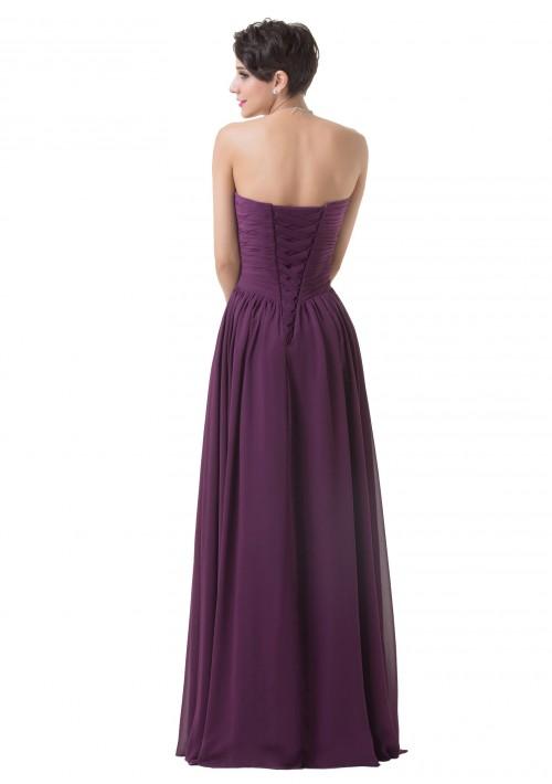 Schulterfreies, langes Abendkleid in Dunkelflieder - schnell und günstig bei VIP Dress