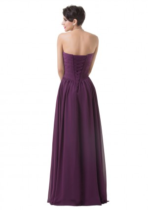 Schulterfreies, langes Abendkleid in Dunkelflieder - günstig bei VIP Dress
