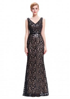 Langes Abendkleid in schwarzer Spitze mit V-Ausschnitt -
