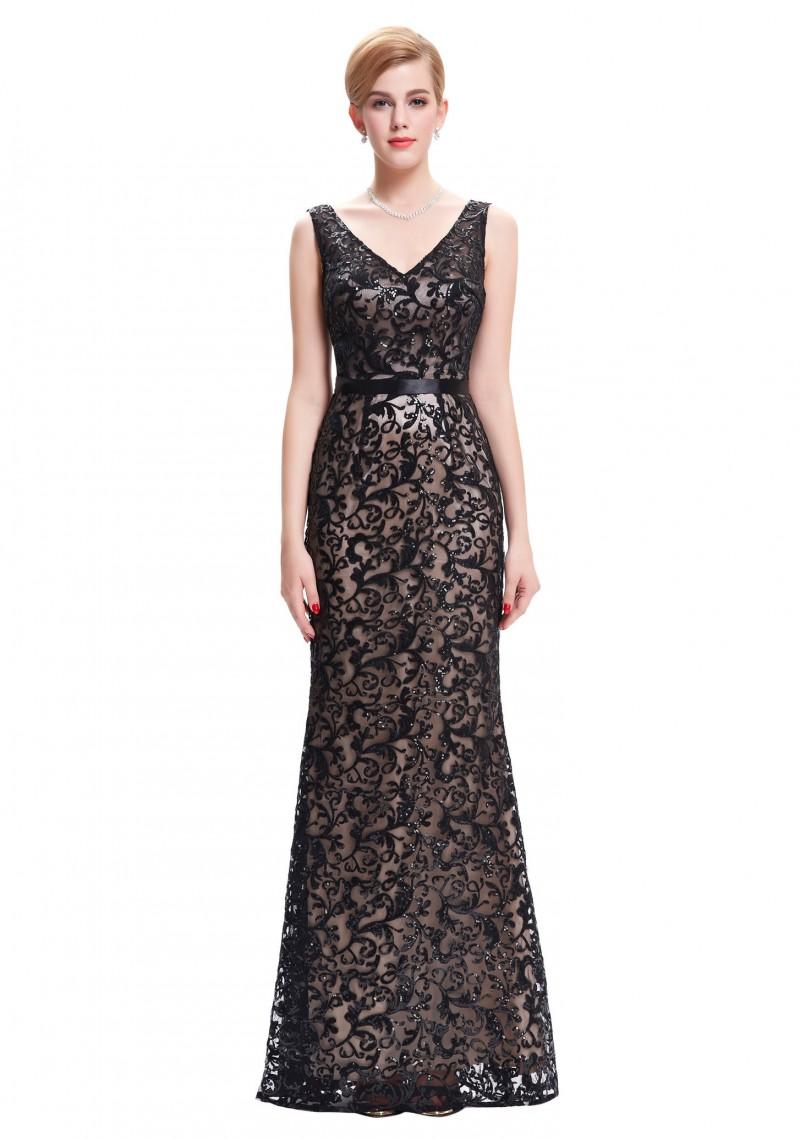 Langes Abendkleid in schwarzer Spitze mit V-Ausschnitt