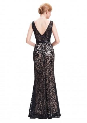 Langes Abendkleid in schwarzer Spitze mit V-Ausschnitt - günstig shoppen bei vipdress.de