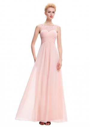 Langes Chiffon Abendkleid in Rosa -