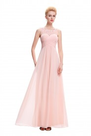 Langes Chiffon Abendkleid in Rosa