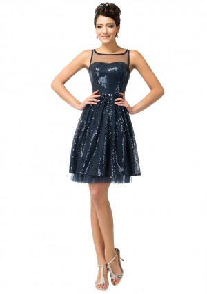 Extravagantes, kurzes Party- und Abendkleid in Navy Blau -