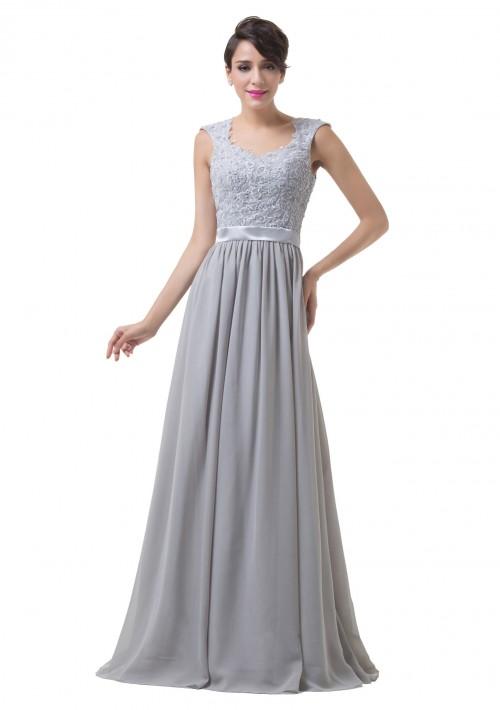 Bodenlanges Abendkleid mit Schulterträgern in Grau-Silber - bei VIP Dress online bestellen