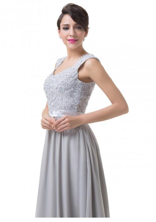 Bodenlanges Abendkleid mit Schulterträgern in Grau-Silber - bei VIP Dress günstig kaufen