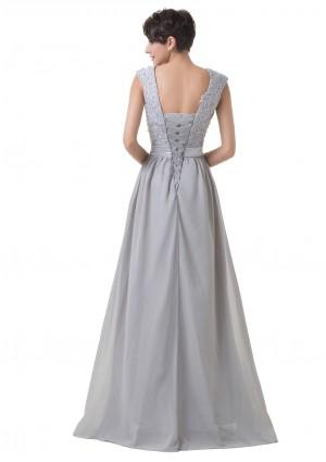 Bodenlanges Abendkleid mit Schulterträgern in Grau-Silber - bei vipdress.de günstig shoppen