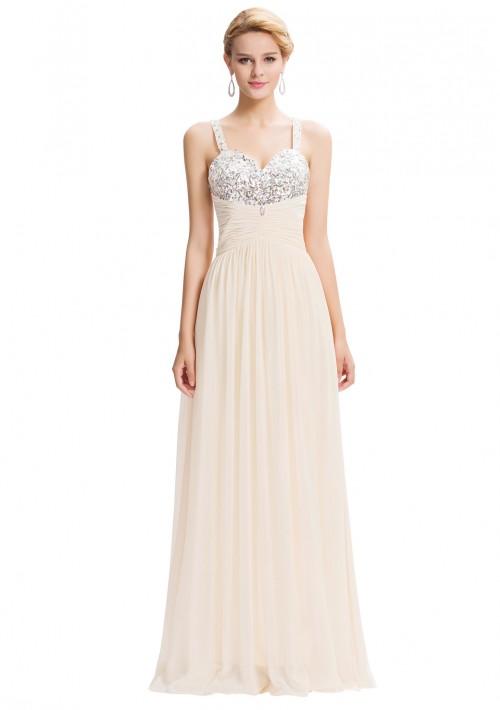 Bodenlanges Träger-Abendkleid in Creme-Beige - bei VIP Dress online bestellen