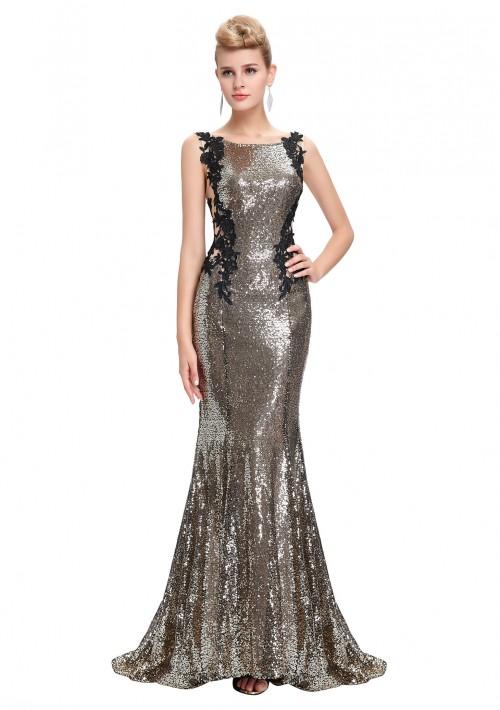 Langes, ärmelloses Meerjungfrau-Abendkleid in Gold-Schwarz - schnell und günstig bei VIP Dress