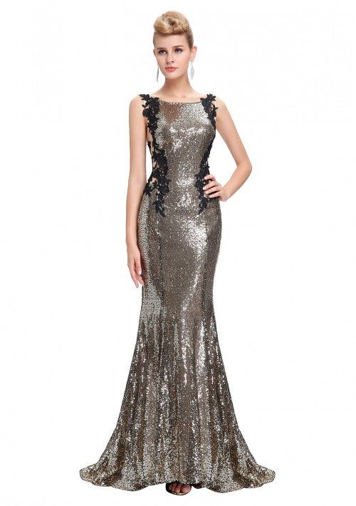 Langes, ärmelloses Meerjungfrau-Abendkleid in Gold-Schwarz - bei vipdress.de günstig shoppen