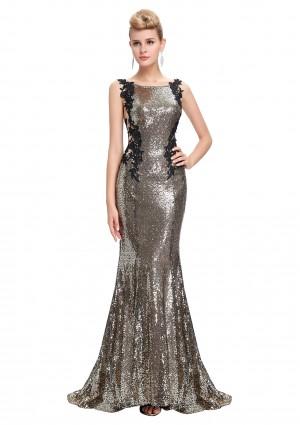 Langes, ärmelloses Meerjungfrau-Abendkleid in Gold-Schwarz -