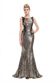 Langes, ärmelloses Meerjungfrau-Abendkleid in Gold-Schwarz