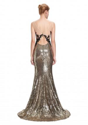 Langes, ärmelloses Meerjungfrau-Abendkleid in Gold-Schwarz - günstig bei VIP Dress