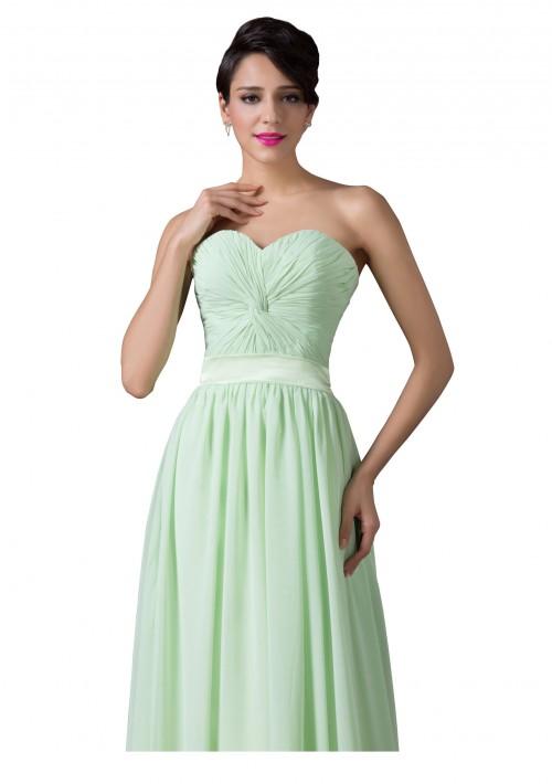 Trägerloses, langes Abendkleid in verträumten Mintgrün - hier günstig online bestellen