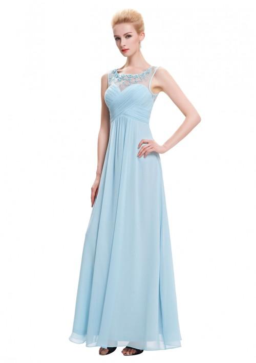 Trägerloses, langes Abendkleid in dezentem Hellblau - günstig kaufen bei vipdress.de
