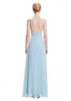 Trägerloses, langes Abendkleid in dezentem Hellblau - bei vipdress.de günstig shoppen