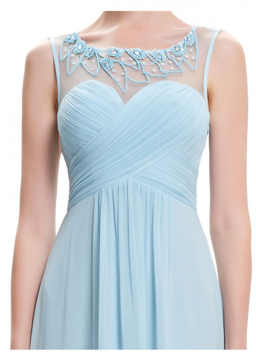 Trägerloses, langes Abendkleid in dezentem Hellblau - bei VIP Dress günstig kaufen