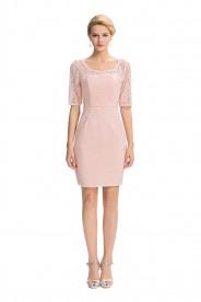 Elegantes Etui-Kleid in Rosa aus Spitze inklusive Bolero