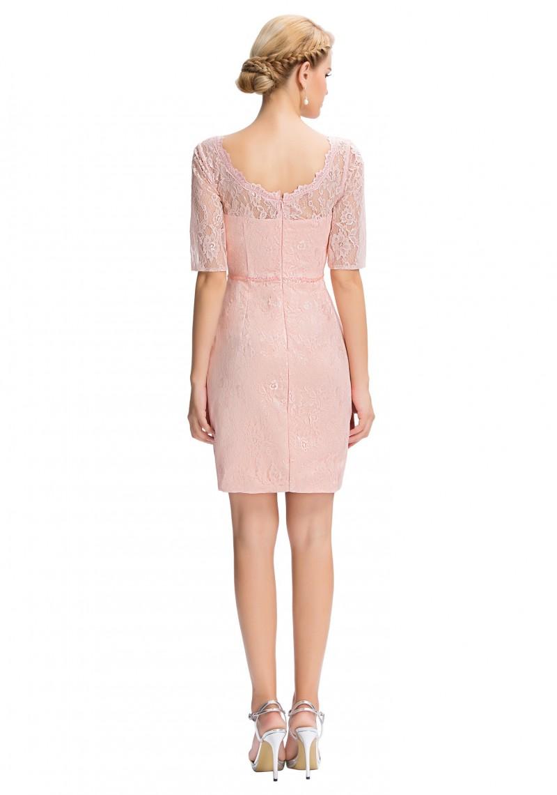 elegantes etui kleid in rosa aus spitze inklusive bolero. Black Bedroom Furniture Sets. Home Design Ideas