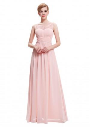 Langes Träger-Abendkleid in Rosa -