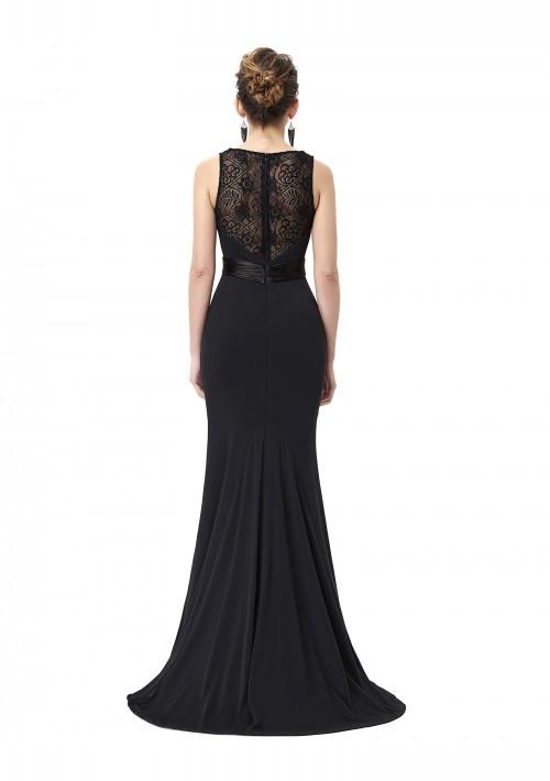 Langes Abendkleid in Schwarz mit Spitzenbesatz - günstig kaufen bei vipdress.de