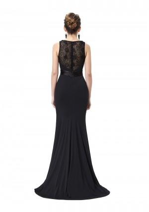 Langes Abendkleid in Schwarz mit Spitzenbesatz - günstig bestellen bei VIP Dress