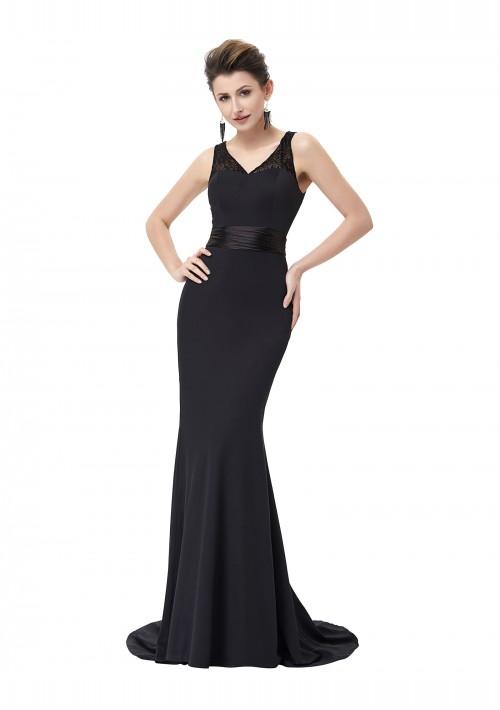 Langes Abendkleid in Schwarz mit Spitzenbesatz - online bestellen bei vipdress.de