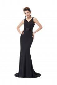 Langes Abendkleid in Schwarz mit Spitzenbesatz
