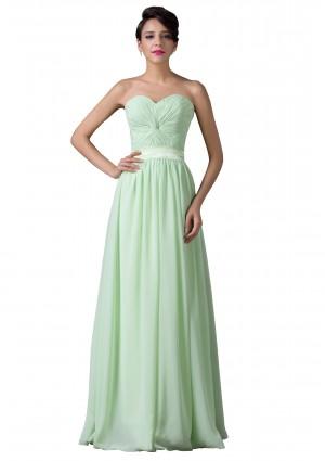 Trägerloses, langes Abendkleid in verträumten Mintgrün -