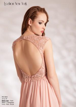 Dunkelblaues Abendkleid aus Chiffon mit Stickerei  - günstig bei VIP Dress