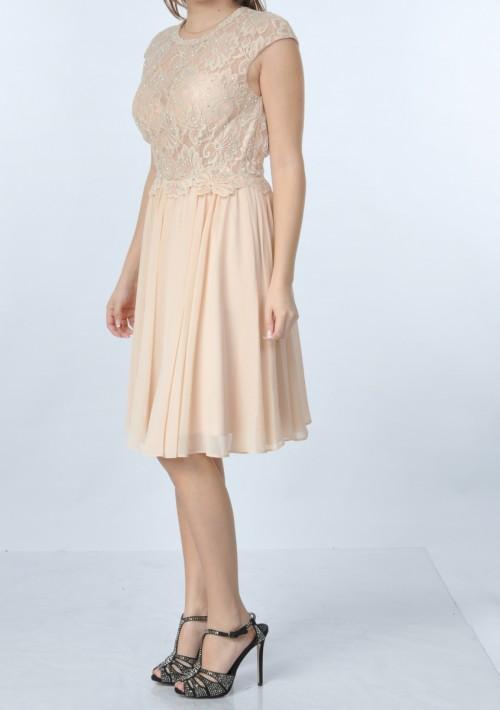 Dunkelblaues Abendkleid aus Chiffon mit Stickerei  - bei vipdress.de günstig shoppen