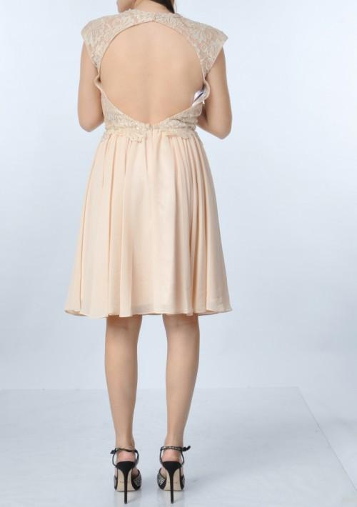 Dunkelblaues Abendkleid aus Chiffon mit Stickerei  - bei VIP Dress online bestellen