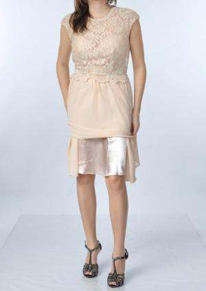 Dunkelblaues Abendkleid aus Chiffon mit Stickerei  - schnell und günstig bei VIP Dress