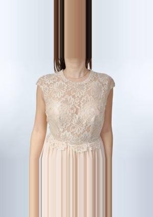 Dunkelblaues Abendkleid aus Chiffon mit Stickerei  - günstig bestellen bei VIP Dress