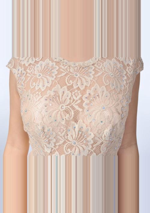 Dunkelblaues Abendkleid aus Chiffon mit Stickerei  - bei VIP Dress günstig kaufen