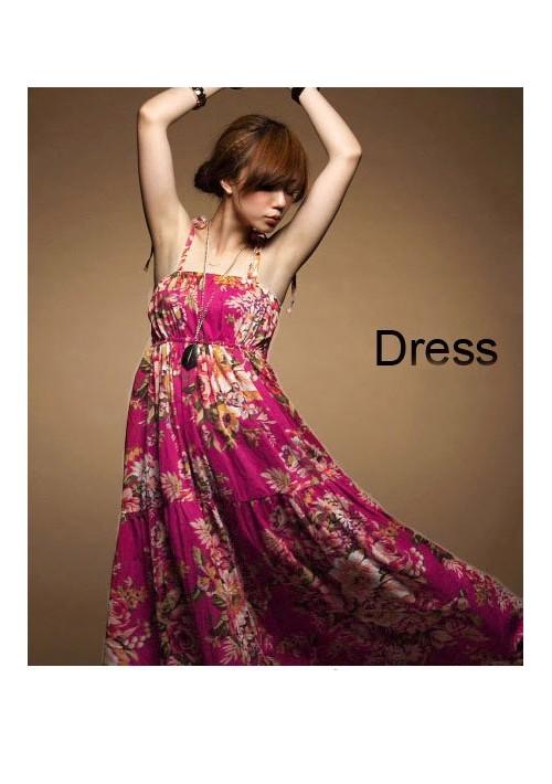 Sommerliches, langes Kleid im Flower-Power-Look - hier günstig online bestellen