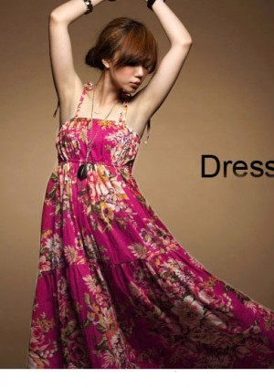 Sommerliches, langes Kleid im Flower-Power-Look -