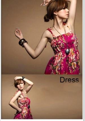 Sommerliches, langes Kleid im Flower-Power-Look - bei VIP Dress günstig kaufen